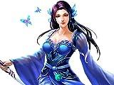 Mujer en traje azul con espada - Puzzle 1000 Piezas Adultos Niños De Madera Juego Clásico Puzzle Toys Puzzles