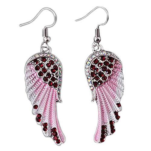 Ruby569y Pendientes colgantes para mujer y niña, moda de fiesta, alas de ángel, diamantes de imitación, con incrustaciones de gancho para mujer, color rojo