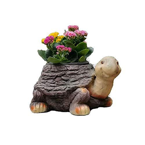 IUYJVR Escultura de Animales Maceta, Jardinera de Animales de jardín Modelo de Tortuga Artesanía de Resina Antigua Jardín Césped Decoración de Paisaje Regalos de inauguración de la casa