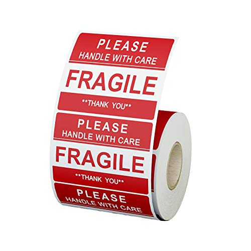 """Fragile Stickers [1 Roll, 500 Labels] 2"""" x 3"""" Handle with Care Fragile Thank You Warning Fragile- Stickers for Shipping-Labels -Permanent Adhesive"""