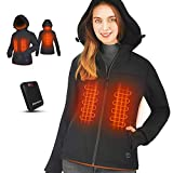 Aunroaa Heated Jacket Women's Slim Fit Coat with 14400 mAh Battery Pack and Comfortable Hood (S) Black