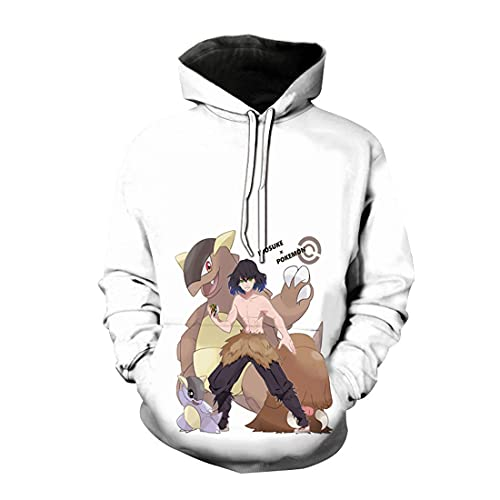 cshsb Demon Slayer Hoodie Hombre Funny 3D Impresión de Patrones de Anime Unisex Pullover Manga Larga Sweater Hoody con Bolsillos Cordón,C,L-XL