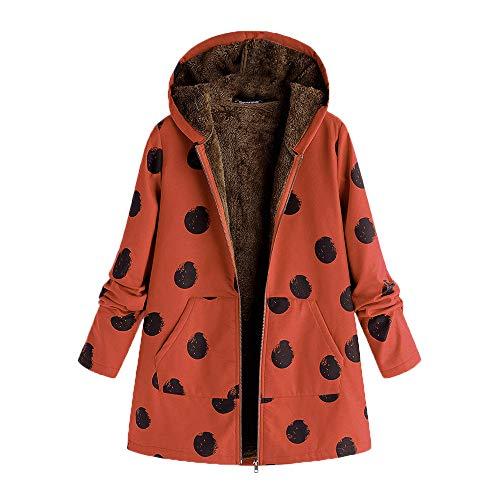 iHENGH Damen Winter Jacke Dicker Warm Bequem Slim Parka Mantel Lässig Mode Frauen Outwear Katze Print Kapuzen Taschen Vintage übergroßen Coat(Orange-1, 3XL)