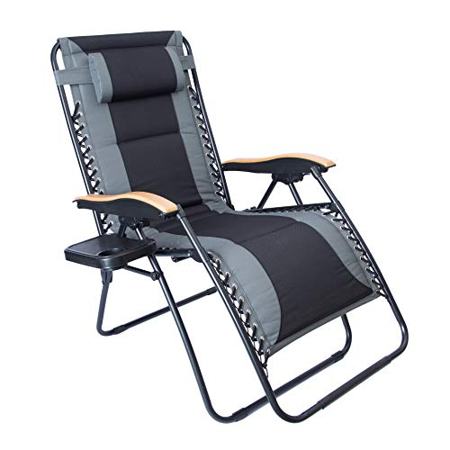 LUCKYBERRY Oversize XL Padded Zero Gravity Lounge Chair Grey Wider Armrest Adjustable Recliner...