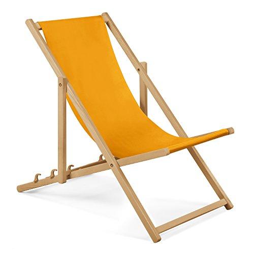 Unbekannt 2X Gartenliege aus Holz Liegestuhl Relaxliege Strandliege (Gelb)