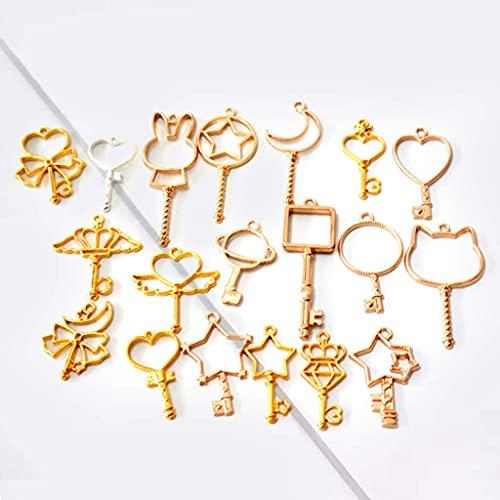 SKYVII 19 unids/set clave estrella luna metal marco encanto colgante bisel ajuste resina UV epoxi joyería DIY encanto accesorios hechos a mano
