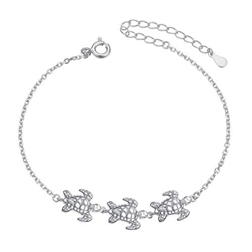 Sea Turtle Anklet for Women S925 Sterling Silver Adjustable Foot Plus Tortoise Ocean Ankle Bracelet 11 12 Inch