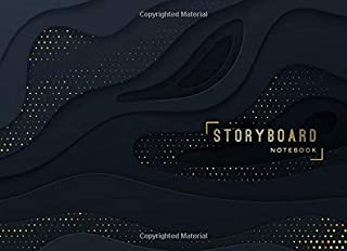 Storyboard Notebook: 8.25 x 6 in, 6 Panel 16:9, Black and Gold Theme