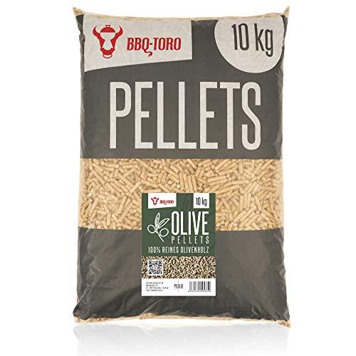 BBQ-Toro Olive Pellets aus 100% Olivenholz | 10 kg | Olivenpellets für Grill, Smoker, Pellet-Pizzaofen und Heizungsanlagen | Grillpellets