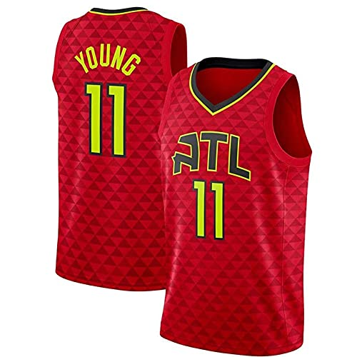 Ropa Baloncesto para Hombres NBA Jersey Hawks 11# Trae Young 2021 Transpirable Secado rápido Vestima sin Mangas Top para Deportes, Chaleco De Gimnasia, Camiseta Deportiva(Size:M170-175,Color:G1) weizi