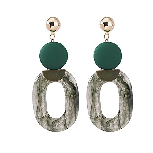 YWSZJ Pendientes de Resina Verde Nuevo Pendientes de diseño Oval exagerado Pendientes de Moda para Mujer (Color : Green)