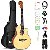 Vangoa 36 Inches Electro Acoustic Guitar 3/4 Folk Guitar for Beginners Set with 2 Band EQ, Built-in Tuner, Starter Kits, Natural