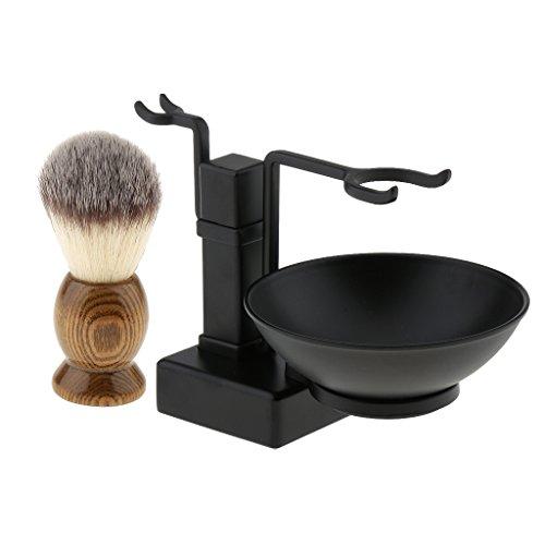 Professional Barber Men Beards Moustache Wood Shaving Brush + Metal Shave Bowl Stand Holder Set Black