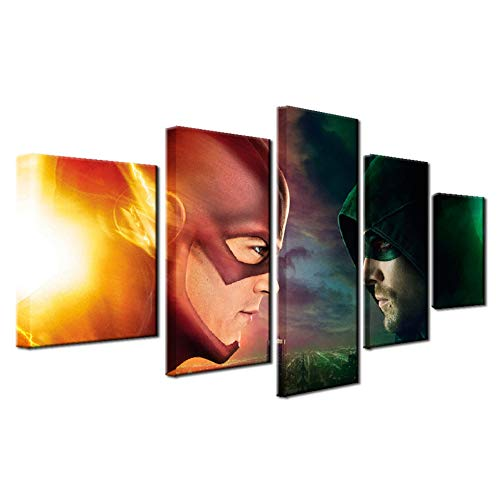ADGUH Leinwanddrucke 5 Stück HD Printing Malerei Green Arrow Man und der Flash-Typ Poster Home Decor