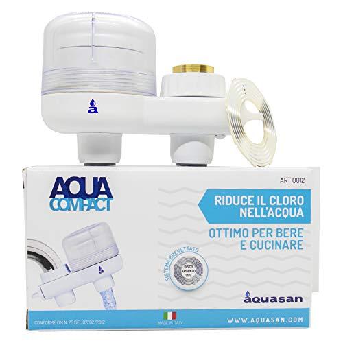 Aquasan Aquacompact Filtro Rubinetto Depuratore Microfiltrazione Filtraggio Acqua Potabile Sistema Filtrante Multi Stadio per Rubinetto Riduce Batteri Microplastiche Rimuove Gusto Odore Indesiderati