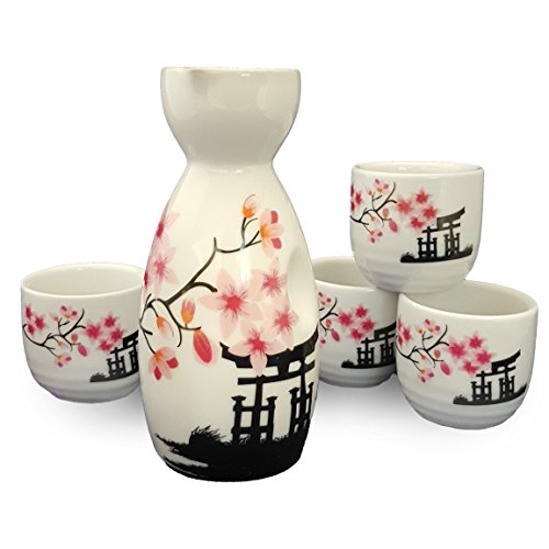 Happy Sales Japanese Sake Set White and Pink Blossom