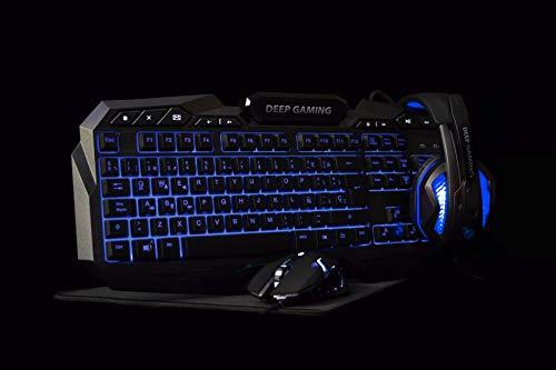 Deep Gaming X-Wing Setup Gaming 4 en 1: Teclado Membrana QWERTY con Ñ retroiluminado, ratón óptico LED 2400 dpi, Auriculares Gamer con micrófono, Alfombrilla Antideslizante. PC/Xbox One/PS4