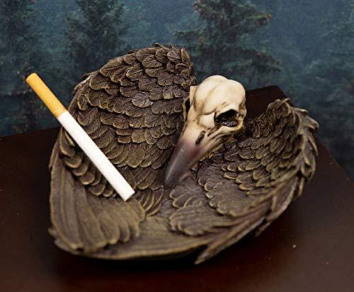 Ebros Harbinger Of Doom Edgar Poe Gothic Winged Raven Skull Jewelry Coin Dish Tray Ashtray Figurine 6.75'L Ossuary Macabre Halloween Decor Sculpture