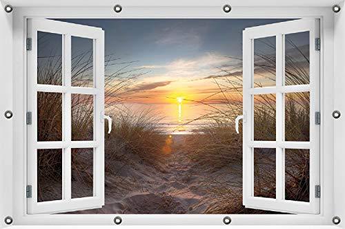 Wallario Garten-Poster Outdoor-Poster ca. 80 x 120 cm mit Fensterrahmen, Sonnenuntergang am Strand in Premiumqualität, für den Außeneinsatz geeignet
