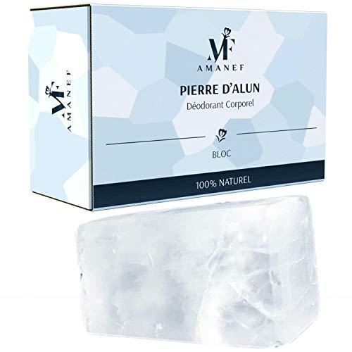 Desodorante de piedra de aluminio 100 % natural, 1 bloque de 100 g, sin clorhidrato de aluminio ni parabenos, neutraliza la transpiración sin obstruir los poros.