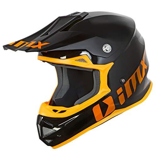 iMX FMX Casco de motocicleta para motocross FMX Enduro Carcasa de policarbonato Almohadillas desmontables para mejillas y forro de casco Ventilación Aprobado por ECE, Negro/Naranja, X-Large