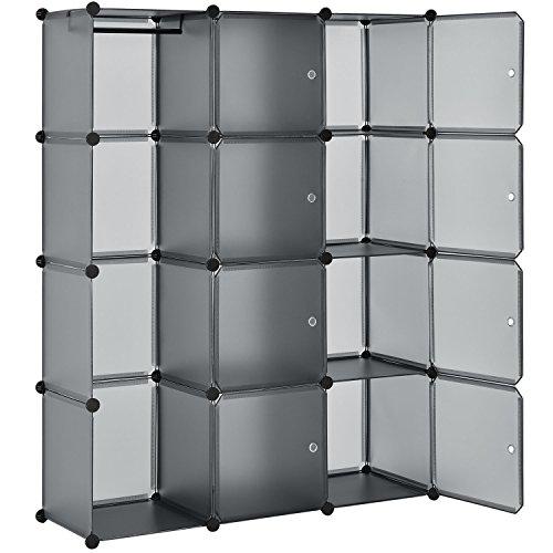 Juskys DIY Regalsystem aus 12 Boxen inkl. Kleiderstange | 8 Fächer mit Tür | 10 kg pro Box | Kunststoff | grau | Schrank Kleiderschrank Schuhschrank