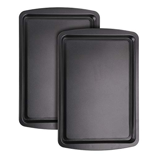 Bekith 2 Piece Bakeware NonStick Cookie Baking Sheets Set Nonstick Coated Steel and Dishwasher Safe Black 1525in x 105in