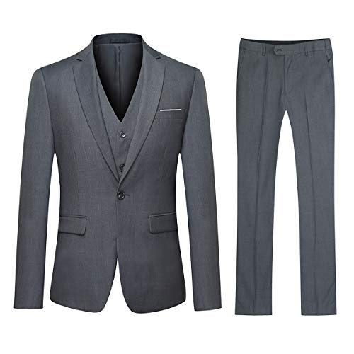 YOUTHUP Herren Anzug Regular Fit Business Anzüge 3-Teilig Anzugjacke Anzughose Weste, Dunkel Grau, Gr.- L