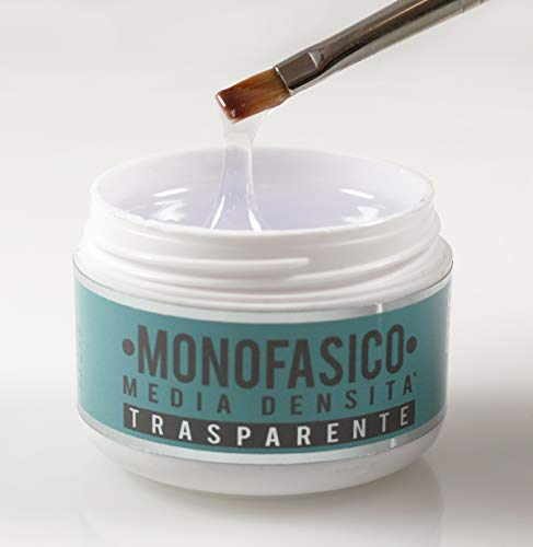 MONOFASICO MEDIA DENSITA' 50ml - Gel UV TRASPARENTE - Per ricostruzioni e coperture unghie, flessibile e duraturo | Beauty Space nails