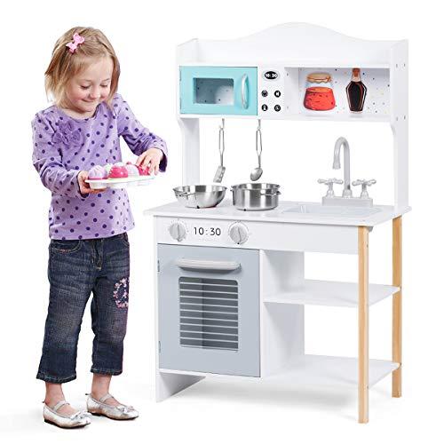 COSTWAY Kinderküche Holz, Holzküche für Kinder 60x30x94cm, Spielküche Kinderspielküche, Spielzeugküche mit Waschbecken, Herd, Ofen und Zubehör