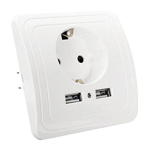250V EU toma de corriente Cargador USB doble sector enchufe eléctrico de...