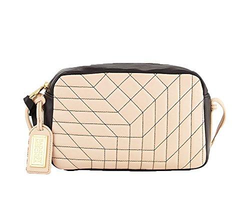 Badgley Mischka Clarissa Nappa Bi-Color Crossbody Bag, Latte/Black