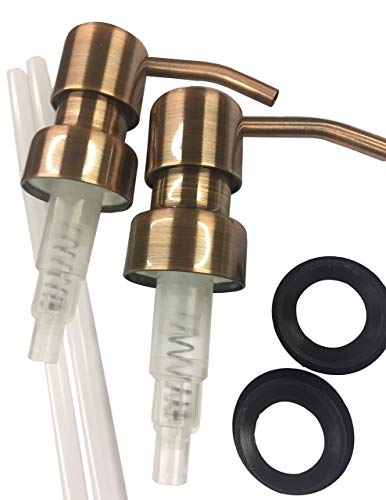 Industrial Rewind Copper Soap Pumps with Collar Rings - 2pk - Replacement Pumps for Your Bottles, Mason Jars or Other DIY Soap or Lotion Dispensers