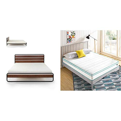 ZINUS Therese Metal and Wood Platform Bed Frame with ZINUS 8 Inch Memory Foam Spring Hybrid Mattress