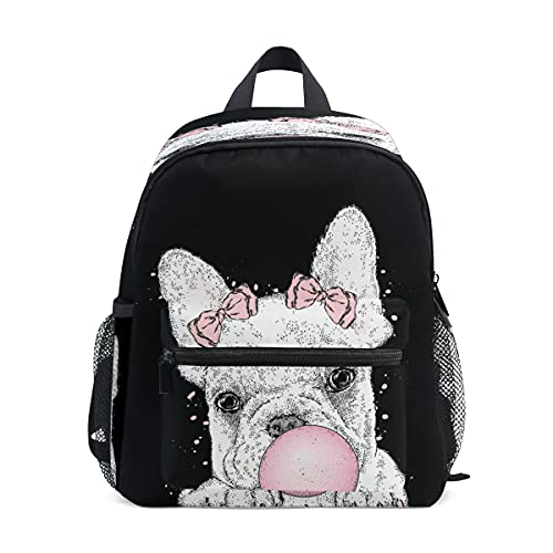 Cute Toddler Backpack Mini Travel Bag Cute French Bulldog for Baby Girl Boy Age 3-7