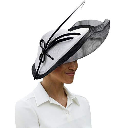 Koola's Sombreros de Mujer Sinamay Net Fascinator Wedding Vintage Headwear Ladies Cocktail Party, Blanco Negro
