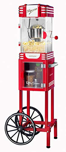 """Nostalgia PC530CTRR 2.5 oz Retro Popcorn & Concession Cart, 45"""" Tall, Makes 10 Cups, with Kernel & Oil Measuring Spoons, 11"""" Wheels for Easy Mobility, Retro Red"""