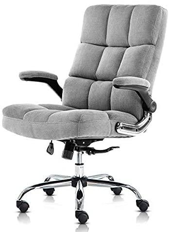 Yamasoro Silla de oficina ergonómica con reposabrazos abatible, silla de oficina giratoria de 360°, silla de oficina con soporte lumbar ajustable, silla de oficina de terciopelo (gris)