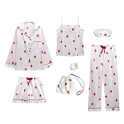 CTMD Juego de 7 Piezas Traje de Pijama de Seda con Estampado de Fresas para Mujer, Ropa de Dormir Cómoda y Suave para Primavera Verano Otoño Invierno Fiesta, Inicio