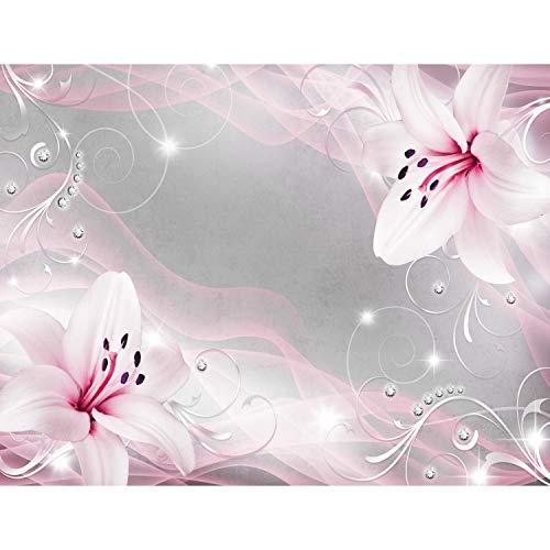 Fototapete Blumen Lilien 352 x 250 cm Vlies Tapeten Wandtapete XXL Moderne Wanddeko Wohnzimmer Schlafzimmer Büro Flur Rosa Grau 9329011b