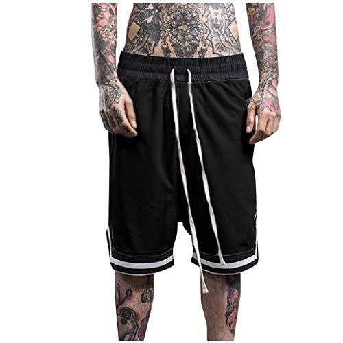 Xmiral Shorts Herren Reißverschluss Taschen Kordelzug Streifen Sports Kurze Hose Training Shorts Fitness Beachshorts Mode Shorts(Schwarz,M)