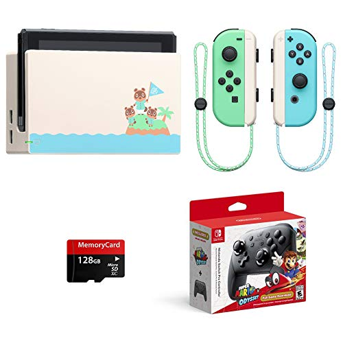 2020 Newest Special Edition, Nintendo Switch Animal Crossing: New Horizons, Bundle Super Mario Odyssey & Nintendo Switch Pro Controller & Woov Micro SD 128 GB