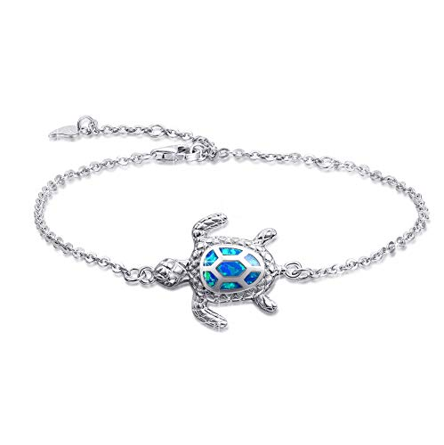 Blue Opal Sea Turtle Armband Sterling Silber Armbänder Schmuck für Frauen Geschenke 4 Level verstellbares Armband