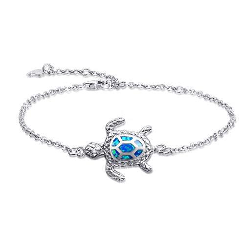 Pulsera de tortuga de mar de ópalo azul, pulseras de plata esterlina, joyería para mujeres, regalos, pulsera ajustable