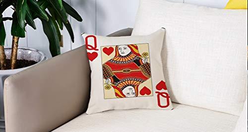 Square Soft and Cozy Pillow Covers,Queen, Queen of Hearts Playing Card Casino Decor Gambling Game Poker Blackjack Deck, Rojo Amari,Funda para Decorar Sofá Dormitorio Decoración Funda de almohada.