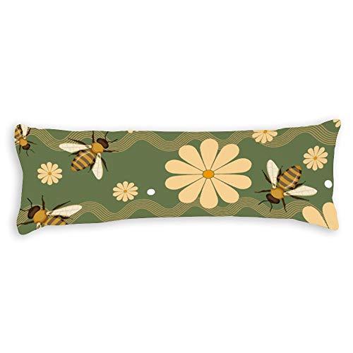 Traasd11an Satin Body Pillowcase 20 x 54 Inch, Bee Garden Body Pillow Case Cover with Zipper for Sofa Bed