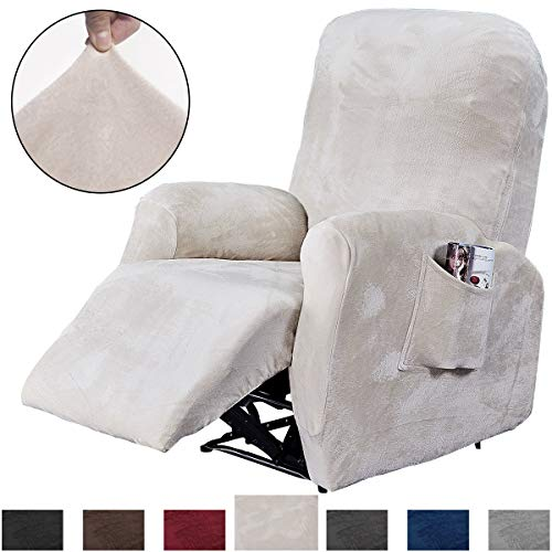 Rose Home Fashion RHF 4 Separate Piece Velvet Recliner Slipcovers, Recliner Chair Cover, Recliner...