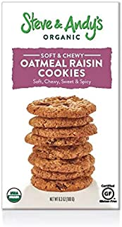 Organic Oatmeal Raisin Cookies, Gluten Free by Steve and Andy's -- Soft, and Chewy Cookie, Non GMO, No Corn Syrup, No Tree Nuts, Kosher (Oatmeal Raisin, Pack of 1)