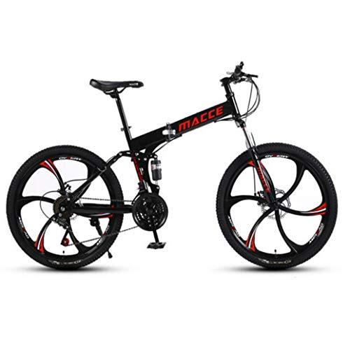 RPOLY 30 de Velocidad Bicicleta de Montaña Plegable, Bicicleta Plegable/Unisex, Doble Freno de Disco, Variable Fuera de la Carretera Velocidad de la Bicicleta,Black_26 Inch