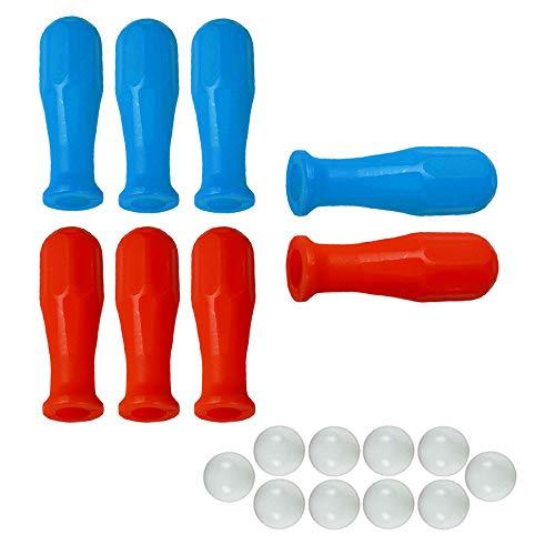 grandeemporio Calcio Balilla Otto (8) manopole universali per aste Diametro mm.16. Quattro Blu e Quattro Rosse, abbinate ad Un Set di Dieci (10) Palline per Calcio Balilla.